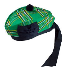 Ireland Glengarry Wool Hat Irish Tartan with Black Pompom Kilt Accessory