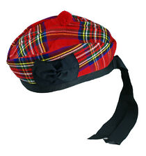 Royal Stewart Glengarry Wool Hat Irish Tartan with Black Pompom Kilt Accessory