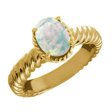 1.60 Ct Oval Cabochon White Simulated Opal 14K Yellow Gold Ring