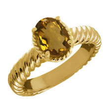 1.60 Ct Oval Whiskey Quartz 925 Yellow Gold Plated Silver Ring