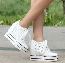 Womens Girls Mesh Platform Hidden Wedge Sneakers Leather High top Boots Creepers
