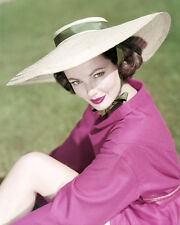 GENE TIERNEY SUMMER HAT POSING ON LAWN RARE PHOTO OR POSTER