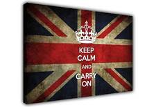 RETRO UNION JACK FLAG KEEP CALM AND CARRY ON QUOTE CANVAS WALL ART PICTURE PRINT