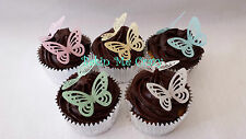 24 Butterfly Edible 3D Butterflies Lace Cupcake Topper Cake Decoration RicePaper