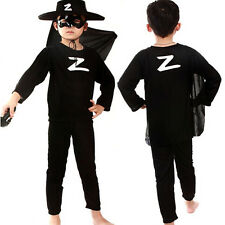 New Kids Boy's Zorro Fashion Show Clothes With Mask Outfits  Party Gift Costume