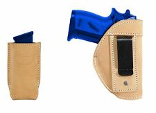 New Barsony Tan Leather IWB Holster + Mag Pouch Taurus Kel-Tec Sccy Ultra Comp