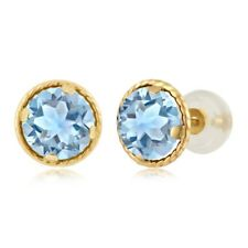 2.39 Ct Round 6mm Sky Blue Topaz 14K Yellow Gold Stud Earrings