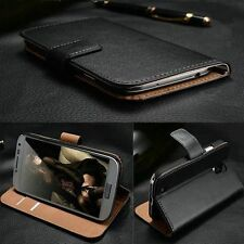 New Deluxe Genuine Real Leather Stand Wallet Case/Cover For iPhone Samsung Sony