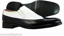 Mens Dress Shoes Majestic Wingtip Synthetic Black White + Free New Cuff Links