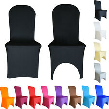 100 White Black Ivory ARCHED/FLAT FRONT Spandex Chair Covers Lycra Cover NEW