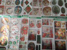 A4 Non Die Cut Decoupage Sheet Holographic Pyramid Christmas Various Designs