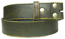 Mens Black Distressed Leather Belt Snap On Strap Ideal for Jeans