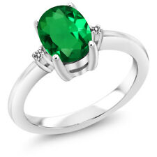 1.18 Ct Oval Green Simulated Emerald White Diamond 925 Sterling Silver Ring