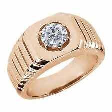 0.50 Ct Round G/H SI2/I1 Diamond 18K Rose Gold Men's Solitaire Ring