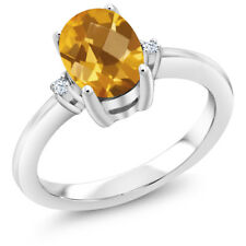 1.28 Ct Oval Checkerboard Yellow Citrine 14K White Gold Ring