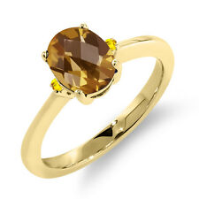 1.21 Ct Oval Checkerboard Champagne Quartz Yellow Sapphire 14K Yellow Gold Ring