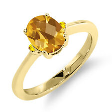 1.31 Ct Oval Checkerboard Yellow Citrine Yellow Sapphire 14K Yellow Gold Ring