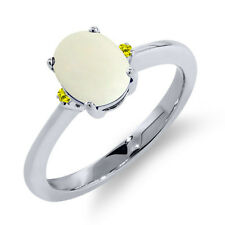 1.08 Ct Oval Cabochon White Simulated Opal Canary Diamond 18K White Gold Ring