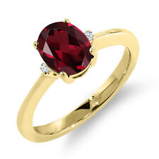 1.42 Ct Oval Red Rhodolite Garnet White Sapphire 14K Yellow Gold Ring
