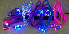 FLASH LED BRAIDED LIGHT-UP Data Cable charger MICRO USB FOR Samsung galaxy s3 s4