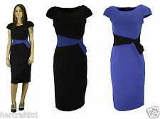COLLECTION LONDON Womens Ladies Black Blue Bow Work Party Shift Dress 8 - 18