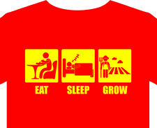 Mens T-Shirt eat sleep grow plants food wheat maize crops grapes vegetables seed