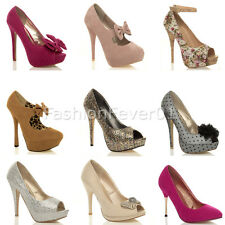 WOMENS LADIES EVENING PLATFORM HIGH HEEL PEEPTOE SMART COURT SHOES PUMPS SIZE