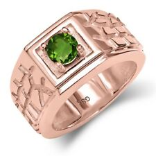 0.50 Ct Round Green SI1/SI2 Chrome Diopside 18K Rose Gold Men's Ring