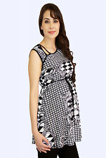 Black White Geometric Square Maternity Blouse Womens Sleeveless Top S M L XL