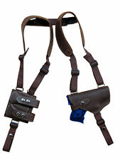 NEW Brown Leather Gun Shoulder Holster w/ Dbl Magazine  Pouch for Glock Compact