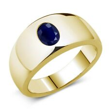 1.79 Ct Oval Blue SI1/SI2 Sapphire 925 Yellow Gold Plated Silver Men's Ring