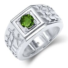 0.50 Ct Round Green SI1/SI2 Chrome Diopside 14K White Gold Men's Ring