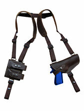 NEW Barsony Brown Leather Shoulder Holster Dbl Mag Pouch Glock HK FN Full Size