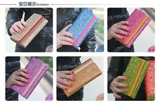 Women Wallet Hasp Trifold Clutch Hollow Out Long Coin Purse Card Photo Holder