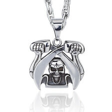 Janeo Men Pendant Necklace Pirate Skull Sword Silver Stainless Steel Thick Chain