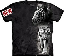 White Tiger Stripe T-Shirt by The Mountain. Big Cat Zoo Animal Sizes S-5XL NEW