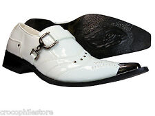 New Men's Dress Shoes Silvanio Slip On Loafer White Metal Toe Synthetic Leather