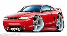 1994-1998 Ford Mustang Cobra Wall Decal Man Cave Graphics Garage Tools Cling Art
