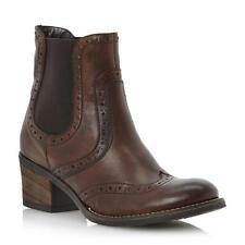 NEW DUNE LADIES PRETS WOMENS BROWN LEATHER BROGUE ANKLE CHELSEA BOOTS SIZE 3-8