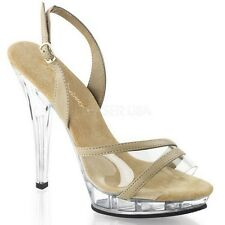SLINGBACK FORMAL GOWN PROM WEDDING CLEAR PLATFORM HEELS SANDALS PAGEANT SHOES