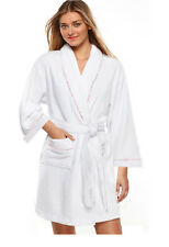 100% Cotton Women's White Short Spa Gown Bath Robe w/ Pockets- Sm/Med/Lg Size