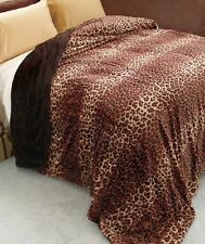 SOFT FAUX FUR LEOPARD THROW BLANKET Sofa Couch TV Nap Dorm Tween Bed Cozy Plush