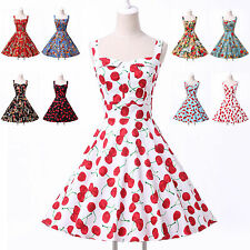 Store Promotion *50s ROCKABILLY Vintage Ball Knee-Length Evening Prom Mini Dress