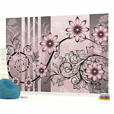 Pink and Grey Flower Pattern Photo Wallpaper Wall Mural (CN-1200P)