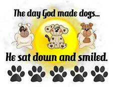Custom Made T Shirt The Day God Made Dogs He Sat Down Smiled Choice Cats Paws