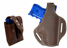 New Brown Leather Pancake Gun Holster + Dbl Mag Pouch CZ EAA Compact 9mm 40 45