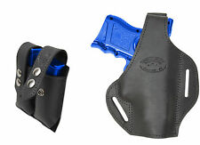New Black Leather Pancake Gun Holster + Dbl Mag Pouch Smith&Wesson Comp 9mm 40
