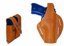 New Tan Leather Pancake Gun Holster + Dbl Mag Pouch Taurus Full Size 9mm 40 45