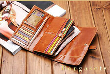 WOMEN SOFT GENUINE REAL LEATHER TRIFOLD WALLET PURSE #41722