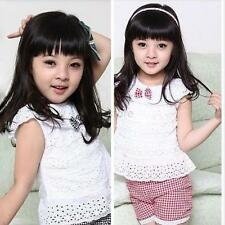2PCS Sets Baby Girls Tops&Shorts Pants Clothes Hollow Out Kids Baby Outfits 1-4Y